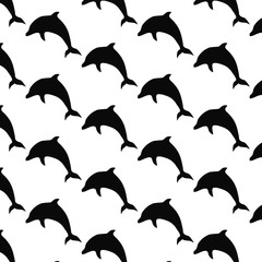 Seamless texture with jumping dolphins. Vector art