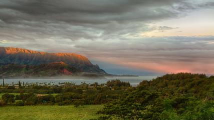 Panorama of Hanalei on island of Kauai