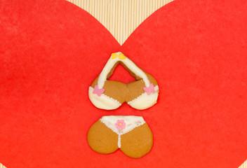 Bikini underwear shape gingerbread cookie red heart love symbol