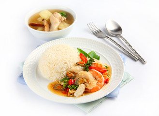 Stir Fried seafood with Holy Basil, thai food and chicken soup