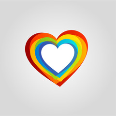 Heart shaped rainbow colored design element