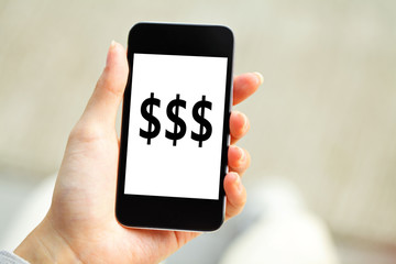 Human hand holding mobile phone with dollar sign on screen