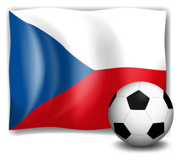 The flag of Czech Republic with a soccer ball