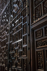Carved ornate wood wall in Puebla Cathedral
