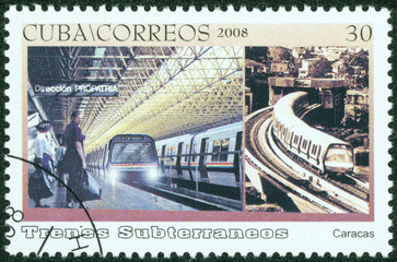 stamp printed in Cuba shows the caracas subway