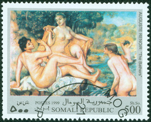 stamp printed in Somalia shows painting,Bathers by Renoir