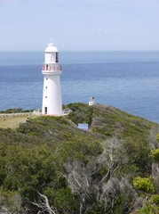 The white Cape Otway lighthouse in Victoria