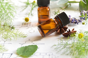 aromatherapy on science sheet with herbs