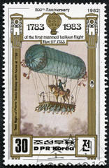 stamp printed in DPR KOREA shows hot air balloon