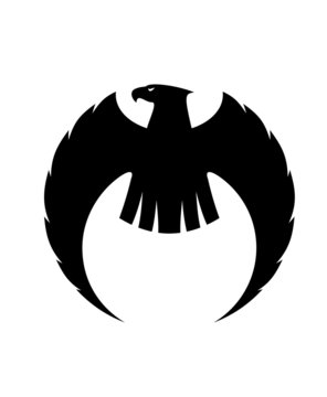 Eagle silhouette with long curved wings