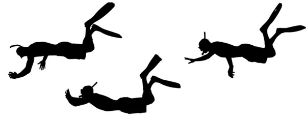 Vector silhouette of a diver.