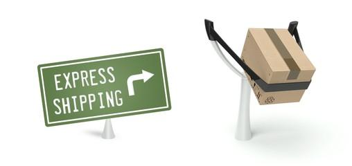 Express shipping transportation cardboard box on slingshot