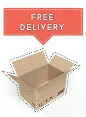 Free delivery concept open cardboard box