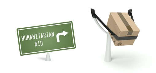 Humanitarian aid concept cardboard box on slingshot