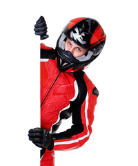 motorcyclist holding vertical blank