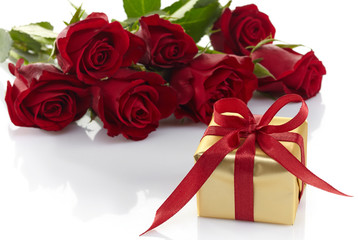 Gift box and roses