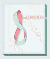 Ribbon Numeral 8 March card