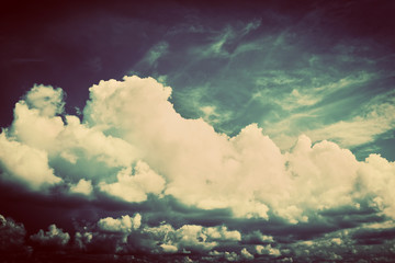 Sky with fluffy clouds. Retro, vintage style