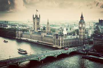 Fotomurales - London, the UK. Big Ben, the Palace of Westminster. Vintage