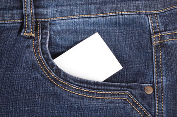 Sticker in pocket jeans