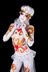 bodypainting, girl in an angel