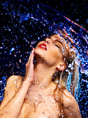 Wet woman face with water drop.