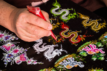 Paint dragon Thai pattern