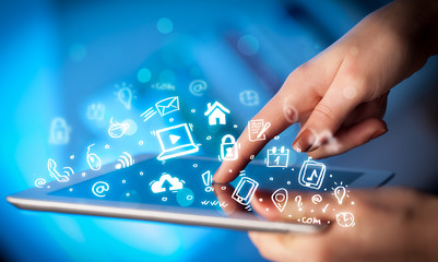 Fototapeta Finger pointing on tablet pc, social media concept obraz