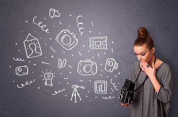 Photographer girl shooting photography icons