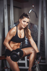 Wall Mural - Sexy athlete girl do exercise with a dumbbells in the gym