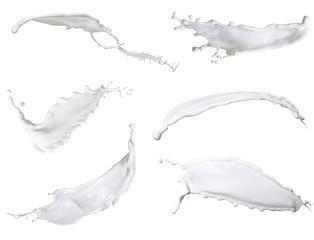 white milk, mixed splash isolated on white background