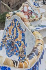 Barcelona, Altstadt, Sitzbank, Mosaik, Winter, Spanien