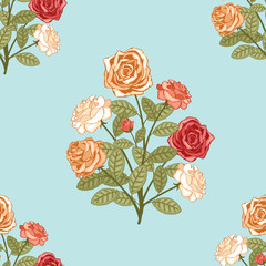 Wall Mural - seamless background with bouquet of flowers