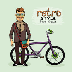 hipster with bike