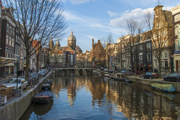 Amsterdam, The Netherlands. Houses on the canal