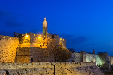 Tower of David in Jerusalem at evening