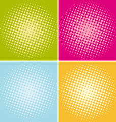 Halftone dots backgrounds set.