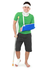 male with broken arm and crutch