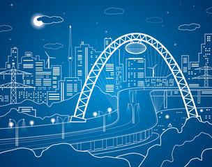 Vector lines city, road under the bridge, vector design