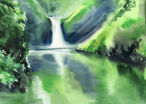 Green mountains and waterfall