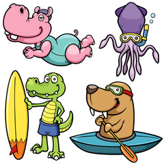 Vector illustration of Cartoon Water sport animal character