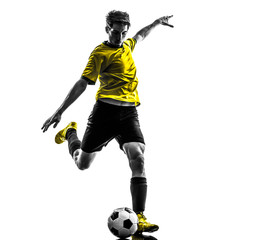 brazilian soccer football player young man kicking silhouette