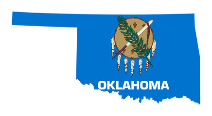 Wall Mural - State of Oklahoma flag map