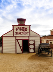 Fotomurales - Fire Station at Mini Hollywood Almeria Andalusia Spain
