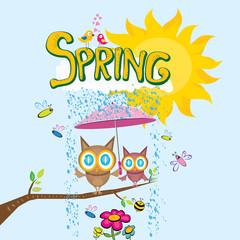 vector spring landscape illustration