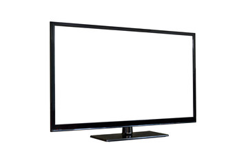 Side shot of plasma tv screen isolated on white