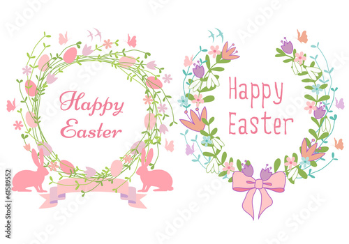 Happy Easter Cards Floral Wreath Vector Set Stock Image And