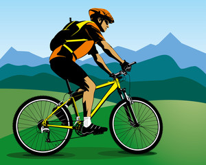Iiiustration of summer landscape with cyclist on mountain bike
