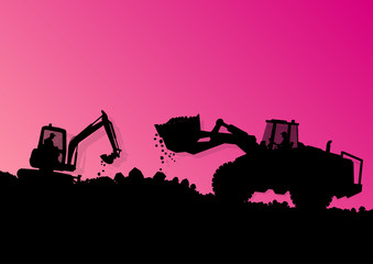 Foto op Canvas Grandfailure Excavator loader hydraulic machine tractor and workers digging a