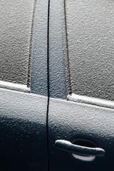 Snowy car door